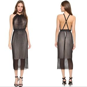 Bec & Bridge Pompette Halter Midi Dress Black, 2